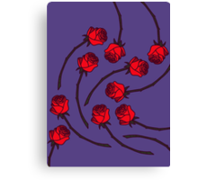 Rose - Red/Navy Canvas Print