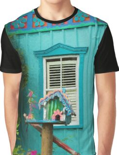 Painted Lady Bird House Graphic T-Shirt