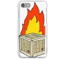 cartoon burning crate iPhone Case/Skin