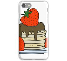 cartoon pancake stack with strawberries iPhone Case/Skin