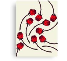 Rose - Red/Cream Canvas Print