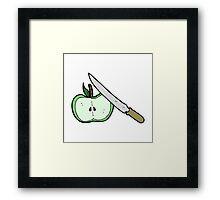 cartoon apple being sliced Framed Print