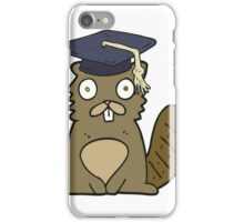cartoon beaver graduate iPhone Case/Skin