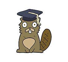 cartoon beaver graduate Photographic Print