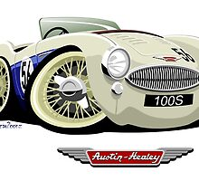 Austin Healey 100S caricature by car2oonz
