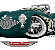 Austin Healey 100M caricature by car2oonz