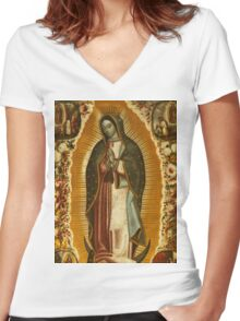 Our Lady of Guadalupe, Virgin Mary, Blessed Mother Women's Fitted V-Neck T-Shirt