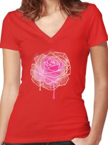 Watercolor Rose Geometricst Women's Fitted V-Neck T-Shirt