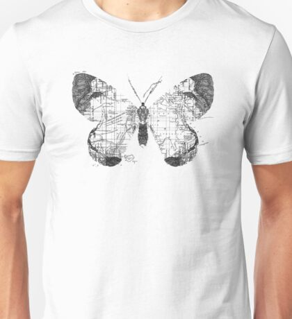 Butterfly Wanderlust Black and White Unisex T-Shirt