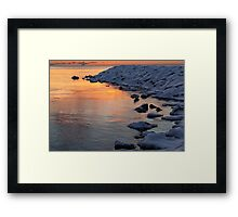Cold and Hot - Colorful Sunrise on the Lake Framed Print