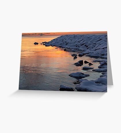 Cold and Hot - Colorful Sunrise on the Lake Greeting Card