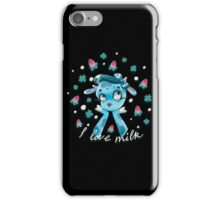 """I love milk"" Cute Blue Cow iPhone Case/Skin"