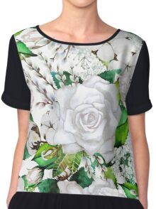Watercolor roses, cotton and gypsophila Chiffon Top