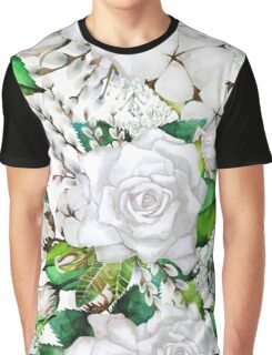 Watercolor roses, cotton and gypsophila Graphic T-Shirt