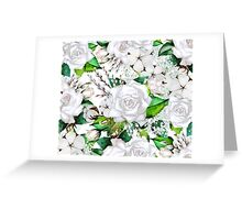 Watercolor roses, cotton and gypsophila Greeting Card