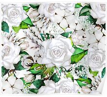 Watercolor roses, cotton and gypsophila Poster