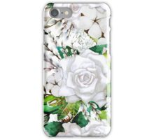 Watercolor roses, cotton and gypsophila iPhone Case/Skin