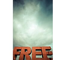 Capital letters FREE with cloudy sky Photographic Print