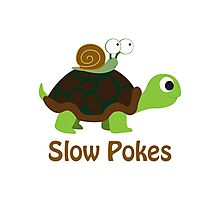 Slow Pokes - Turtle and Snail Photographic Print