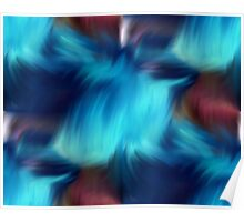 Blue Abstract Brush Strokes Poster