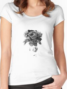 black and white beaded floral sculptural print Women's Fitted Scoop T-Shirt