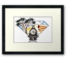 Train, desert and Quiver Trees Framed Print