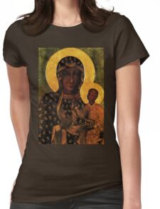 Black Madonna of Czestochowa Poland, Our Lady of Czestochowa, Madonna and Child, Virgin Mary Womens Fitted T-Shirt