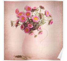 Bouquet  of pink and yellow flowers Poster