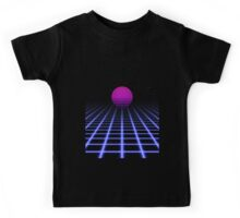 80s Digital Horizon - Sunset Aesthetic Kids Tee