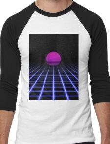 80s Digital Horizon - Sunset Aesthetic Men's Baseball ¾ T-Shirt