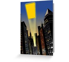 City at night with flash of light in the sky Greeting Card