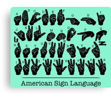 American Sign Language Chart - Green version Canvas Print