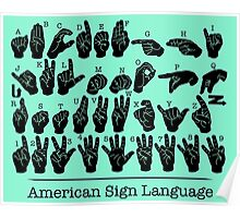 American Sign Language Chart - Green version Poster