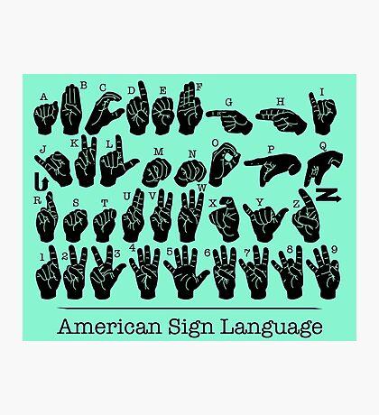 American Sign Language Chart - Green version Photographic Print
