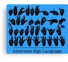 American Sign Language Chart - Blue version Canvas Print