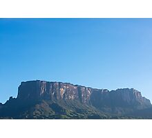 Kukenan tepui or Mount Roraima with blue sky in the morning. Venezuela Photographic Print
