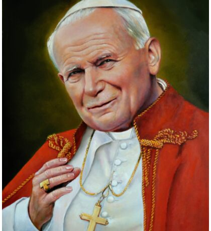 Pope John II, St. John Paul II Portrait, Religious Catholic wall art Sticker
