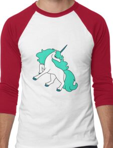 Blue-Green Haired Unicorn Men's Baseball ¾ T-Shirt