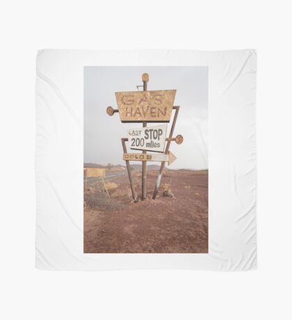 Tall vintage gas sign standing in the desert Scarf