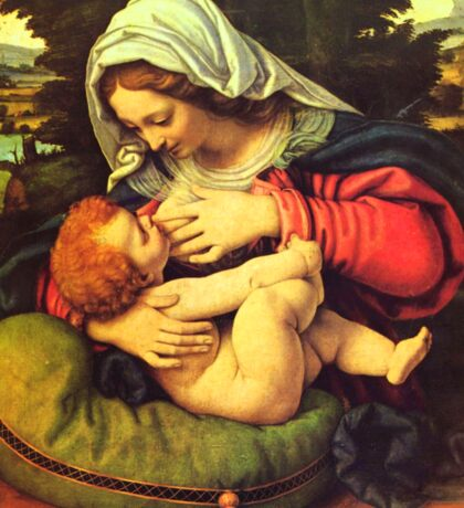 Madonna and Child, Virgin Mary Painting by Solario Sticker