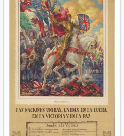 Mexican WW2 Propaganda - The Allies, United in Victory (1945) Sticker