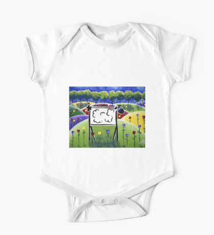 Sheepish Sheep HIlls Trees Flowers Lamb Farmer Rancher Fun Kids Room One Piece - Short Sleeve