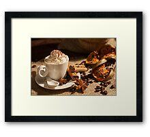 Close-up of coffee with whipped cream and cocoa powder Framed Print