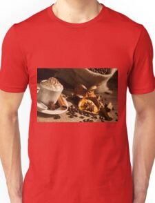 Close-up of coffee cup with whipped cream and cocoa powder Unisex T-Shirt