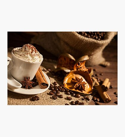 Close-up of coffee cup with whipped cream and cocoa powder Photographic Print