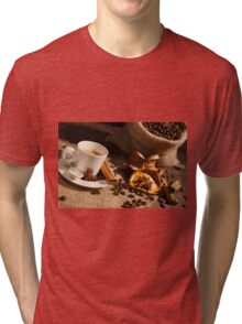 Close-up of coffee cup with star anise and cinnamon Tri-blend T-Shirt