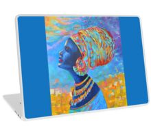 Black Woman Afro Africa African People Painting Blue Yellow Laptop Skin