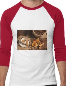 Coffee cup with star anise, cinnamon and dried orange fruit Men's Baseball ¾ T-Shirt