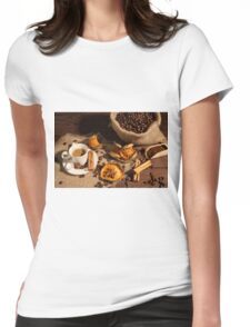Coffee cup with cinnamon, star anise and dried orange fruit Womens Fitted T-Shirt