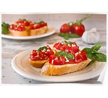 Italian bruschetta with tomato, basil and garlic on a plate Poster